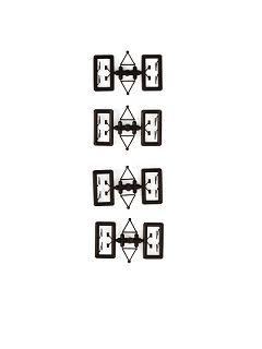 Spiegel + Wischer, schwarz, 8 x
