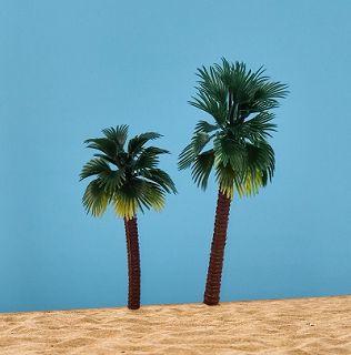 2 tropische Palmen, grün mit gelb, 10 cm + 13 cm