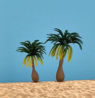 2 tropische Kokospalmen, grün mit gelb, 7,5 cm + 10 cm